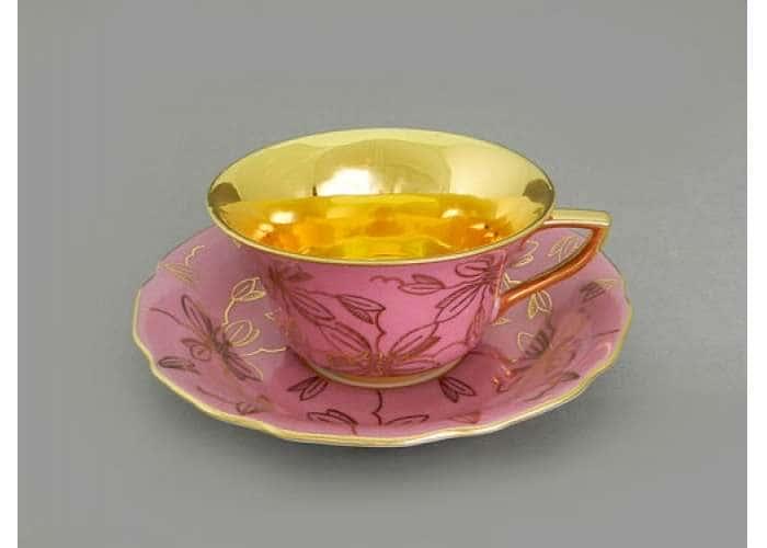 Виндзор Золотые листья розовый, Чашка низкая с блюдцем 0,15 л