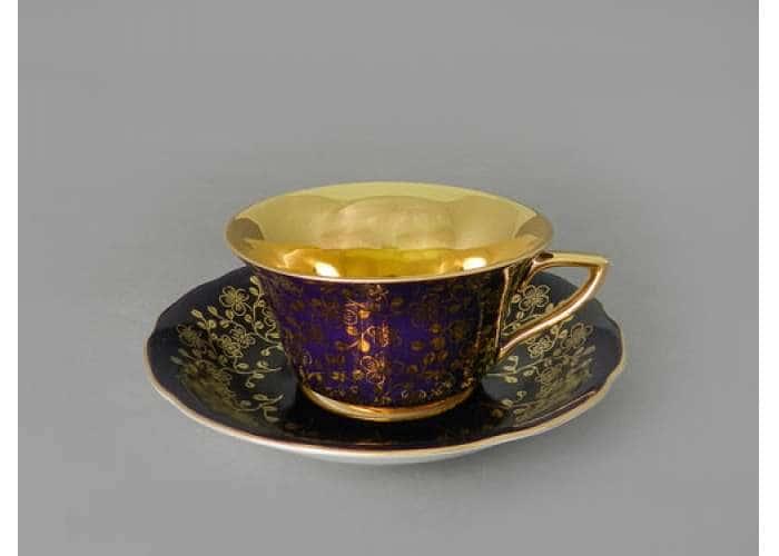 Виндзор Золотые цветы фиолетовый, Чашка низкая с блюдцем 0,15 л