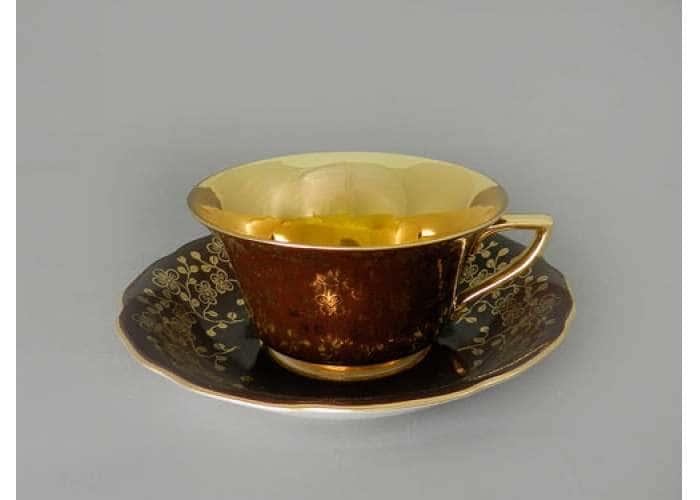 Виндзор Золотые цветы шоколад, Чашка низкая с блюдцем 0,15 л