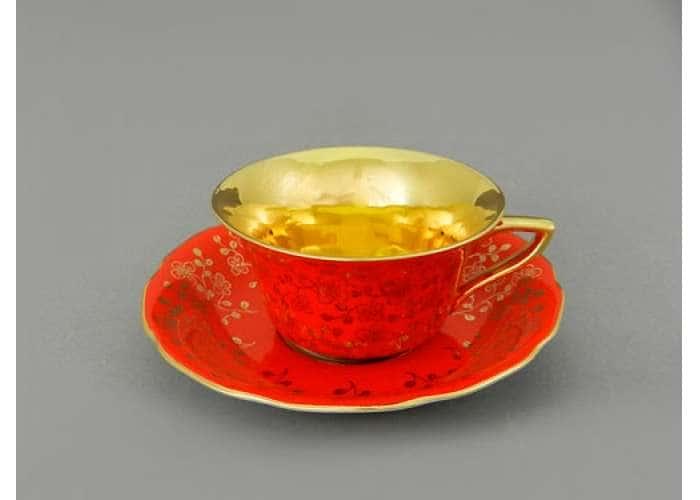 Виндзор Золотые цветы алый, Чашка низкая с блюдцем 0,15 л