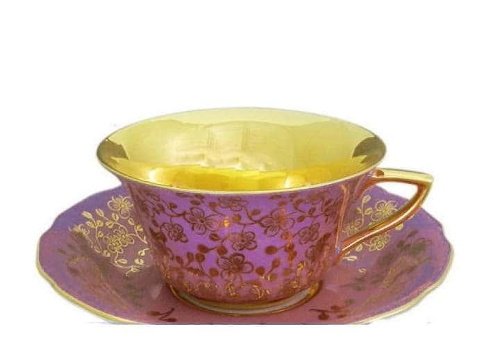 Виндзор Золотые цветы сиреневый, Чашка низкая с блюдцем 0,15 л
