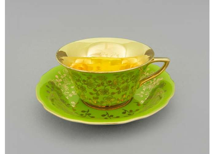 Виндзор Золотые цветы салатовый, Чашка низкая с блюдцем 0,15 л