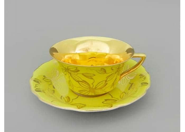 Виндзор Золотые листья желтый, Чашка низкая с блюдцем 0,15 л.