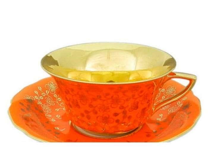 Виндзор Золотые цветы оранжевый, Чашка низкая с блюдцем 0,15 л