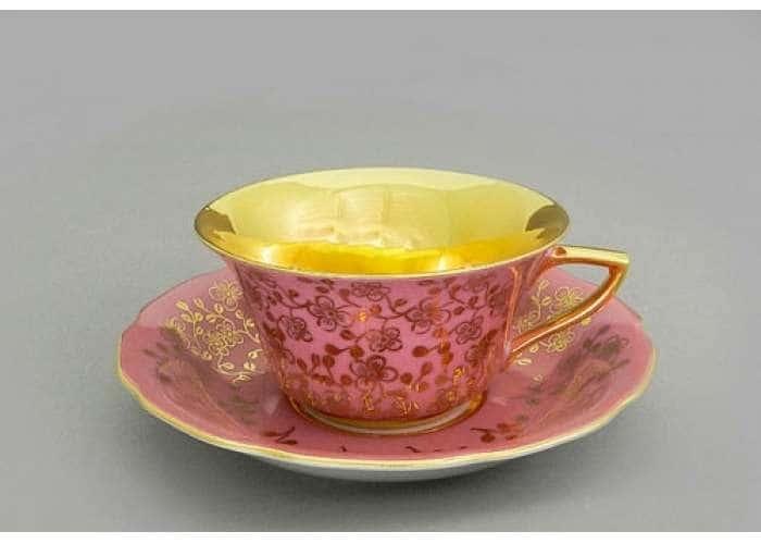 Виндзор Золотые цветы розовый, Чашка низкая с блюдцем 0,15 л