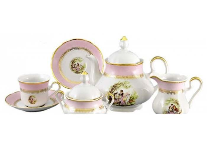 Мэри-Энн, Свидание, Розовый, Сервиз чайный 15 пред.