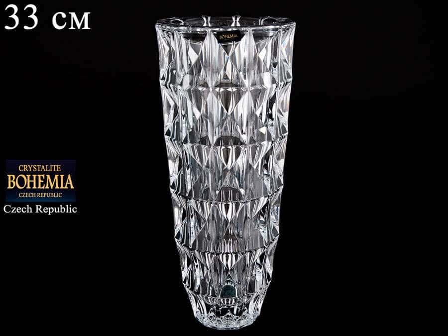 DIAMOND Ваза для цветов из стекла Crystalite 33 см 25808