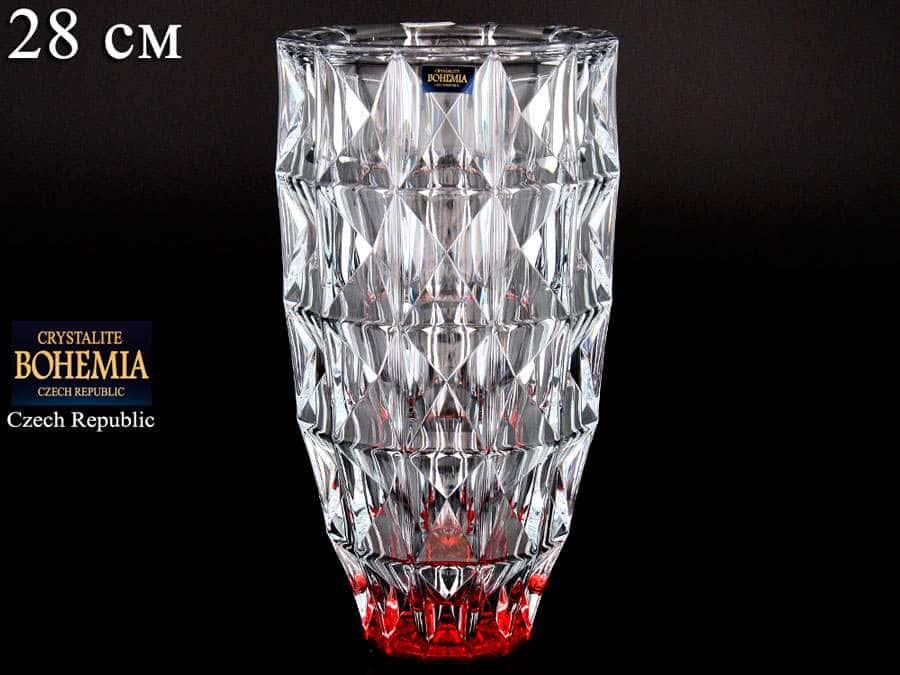 DIAMOND красная Ваза для цветов Crystalite Bohemia 28 см