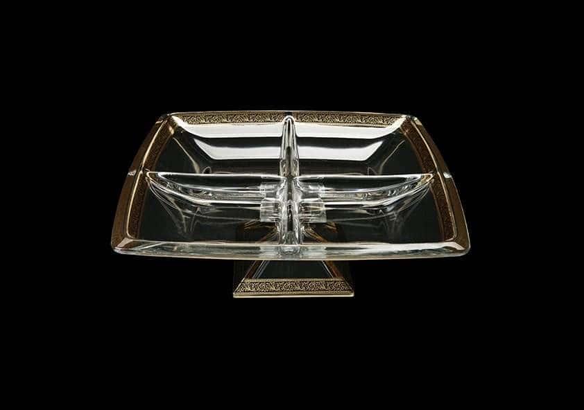 Лилит Менажница Астра Голд 28 см из стекла Чехия 29423