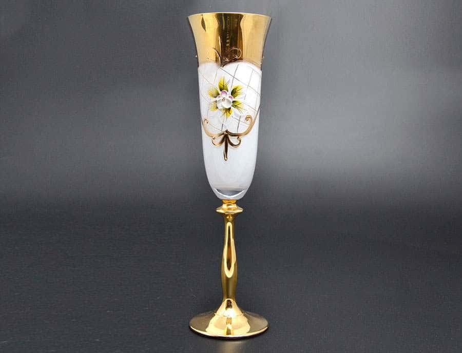 Лепка белая U-R золотая ножка Набор фужеров для шампанского 180 мл