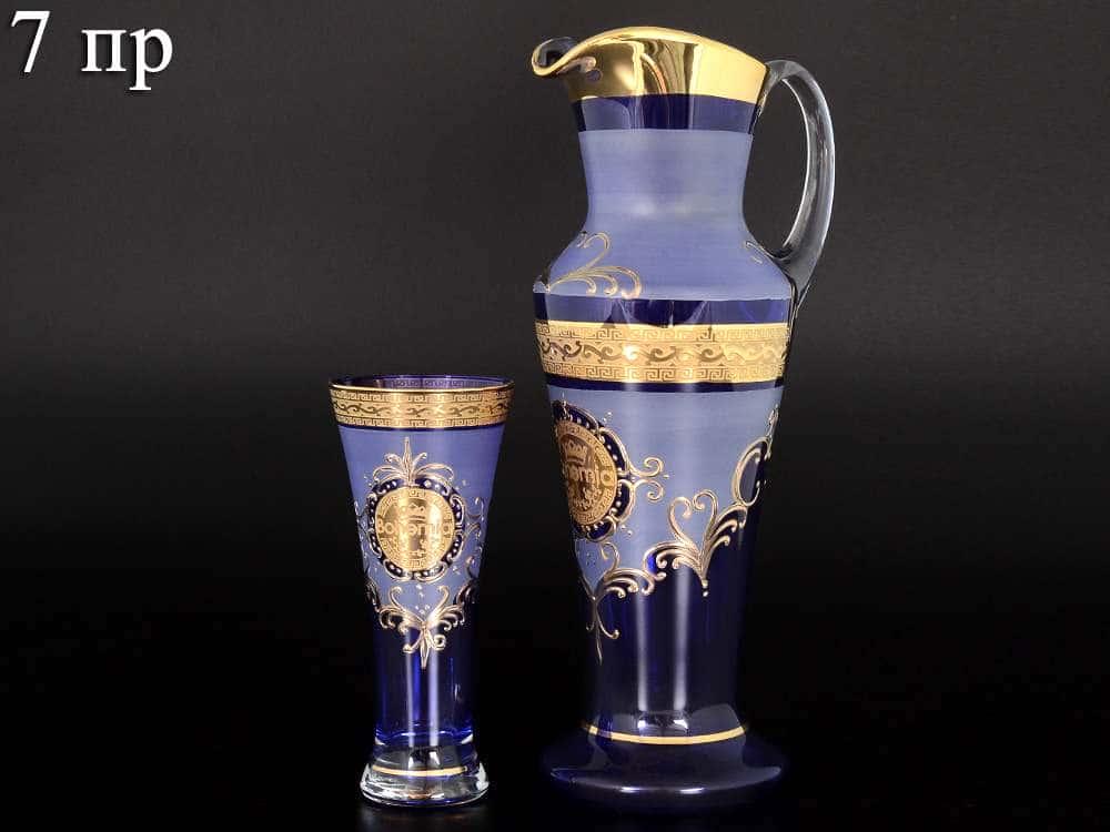 Версаче Богемия B-G иксовка синяя Набор для воды 7 предметов