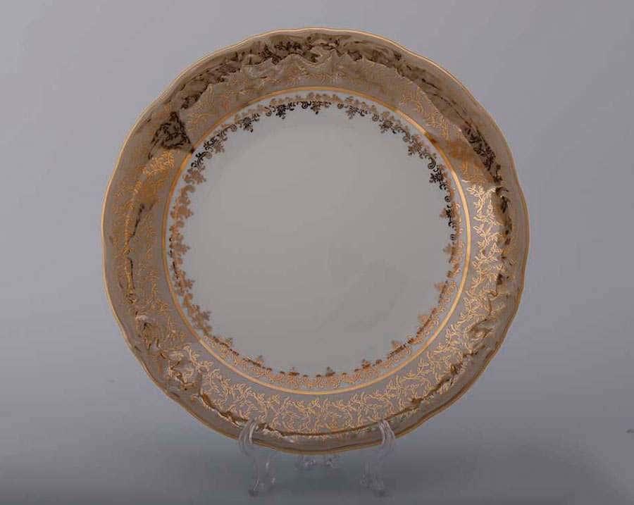 Лист бежевый Блюдо круглое  Bavarian Porcelain 30 см.