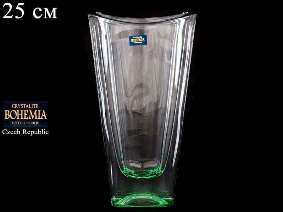 OKINAWA Ваза для цветов Crystalite Bohemia 25 см зеленая