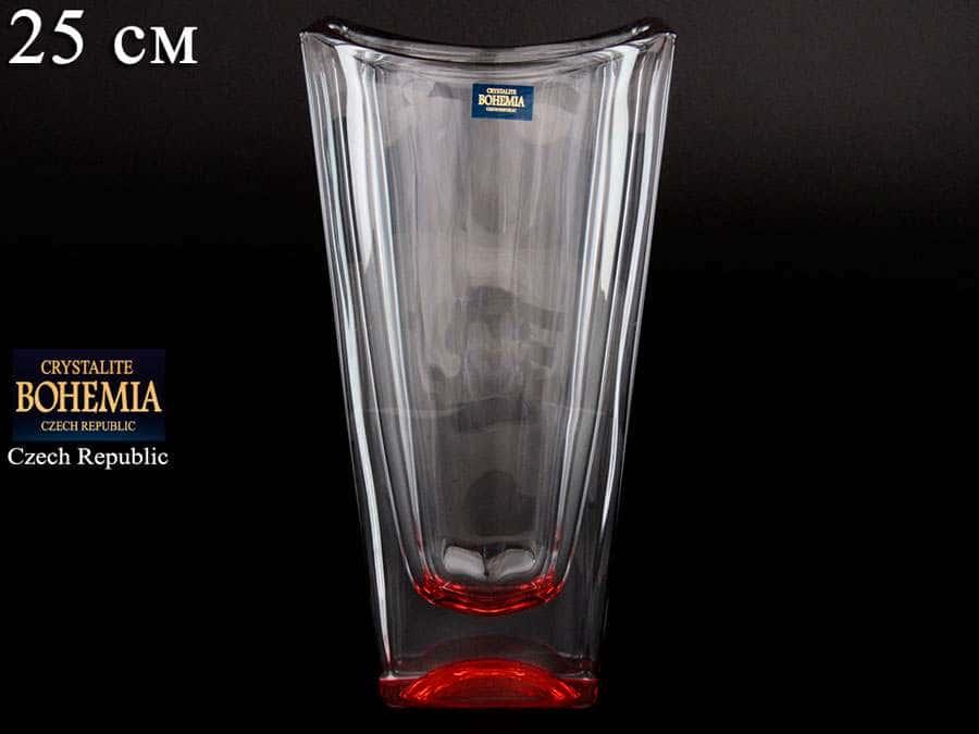 OKINAWA Ваза для цветов Crystalite Bohemia 25 см красная