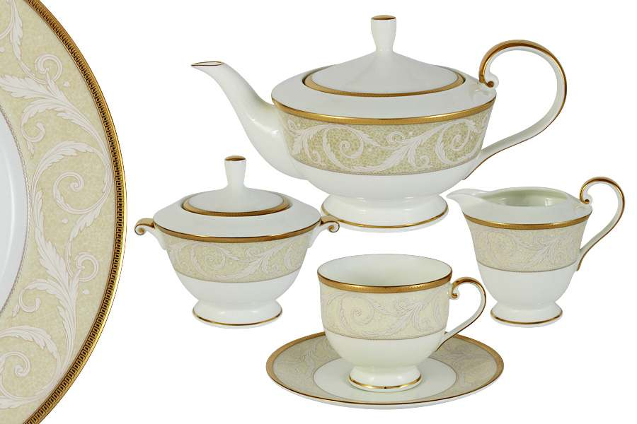 Чайный сервиз из 17 предметов на 6 персон Ноктюрн Голд Narumi Индонезия