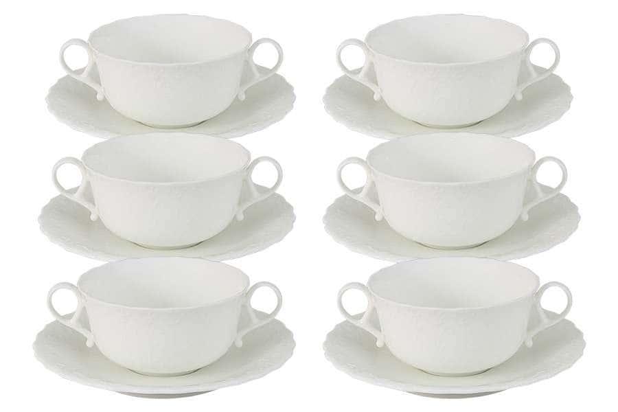 Набор: 6 суповых чашек на блюдце Шёлк Narumi  Индонезия