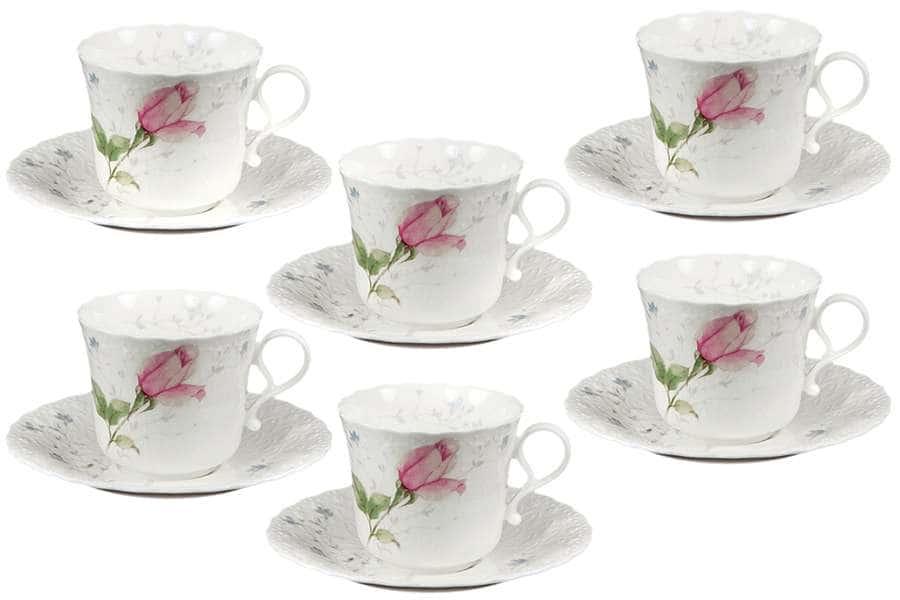 Набор: 6 чашек + 6 блюдец Апрельская роза Narumi  Индонезия