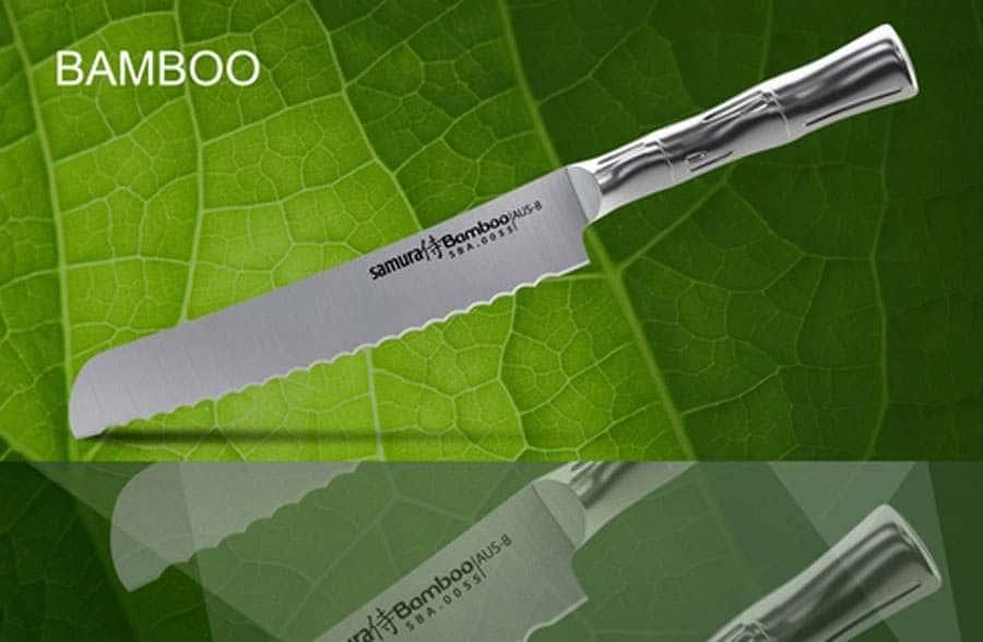 Bamboo Нож кухонный стальной для хлеба Samura