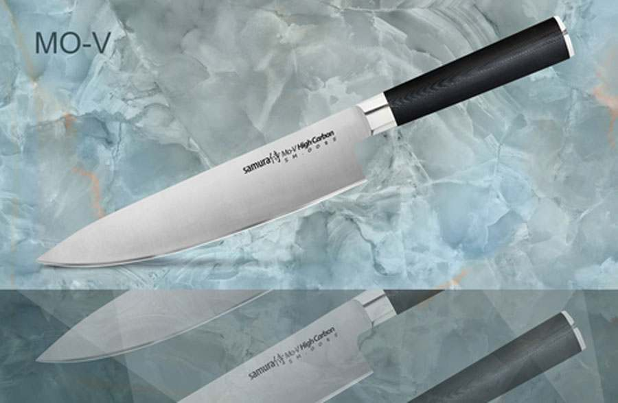 Mo-V Шеф нож кухонный стальной Samura