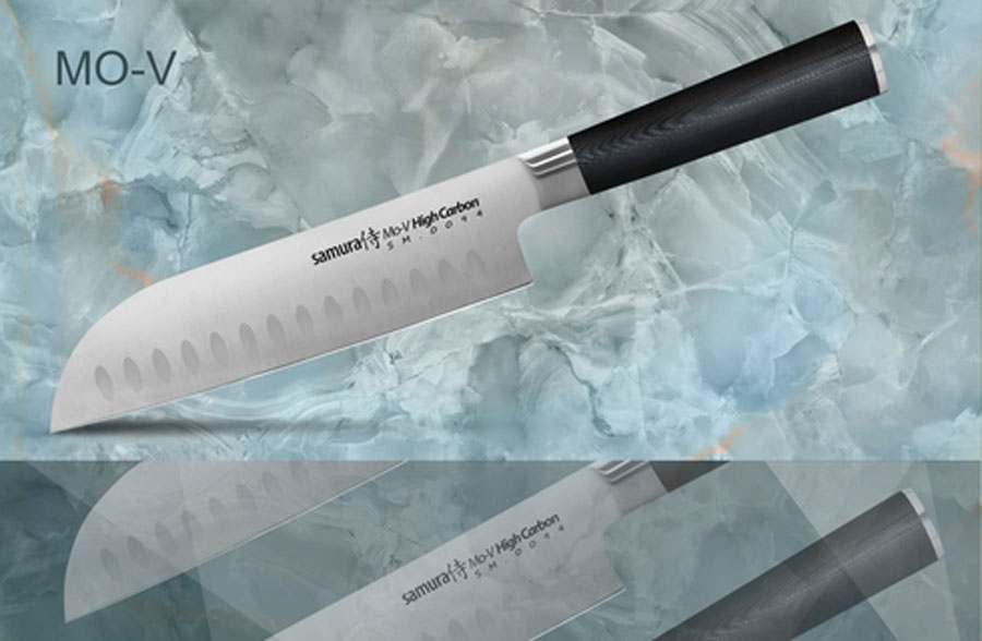 Mo-V Нож кухонный стальной Сантоку Samura