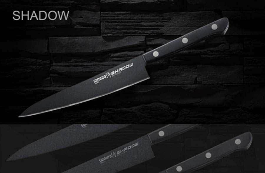 SHADOW Нож кухонный универсальный с покрытием BLACK FUSO Samura Япония