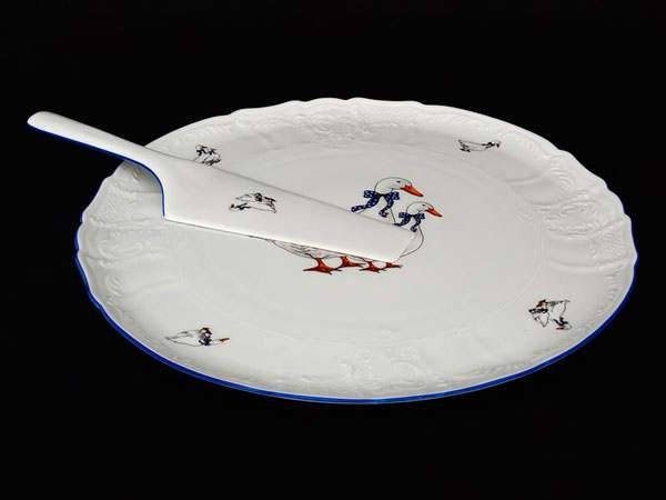 Гуси Бернадотт Тарелка для торта Thun 27 см с лопаткой