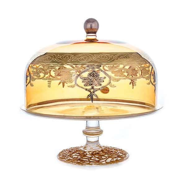 Алессия золотая Блюдо на ножке Decotech 28 см х 26 см.