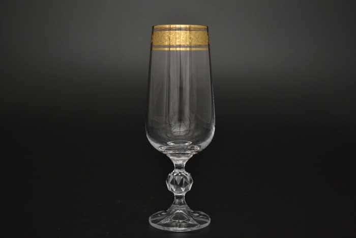 Клаудия Золото Набор фужеров для шампанского Crystalite Bohemia 280 мл
