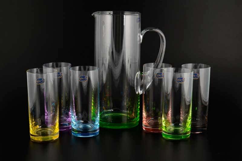 Набор для воды Bohemia Crystal 7 предметов цветные