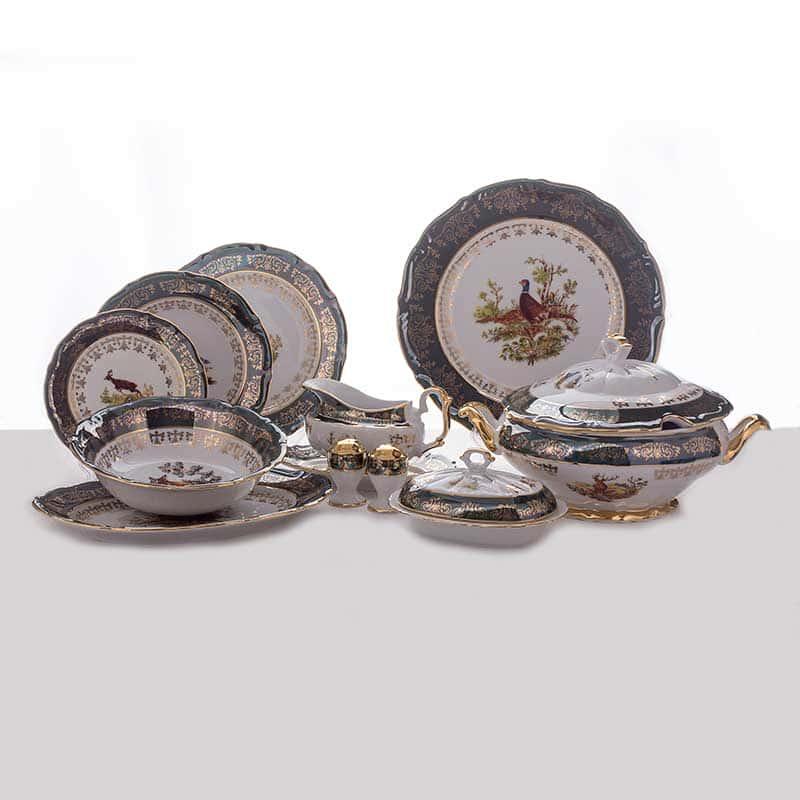 Охота зеленая Столовый сервиз Bavarian Porcelain 27 предметов