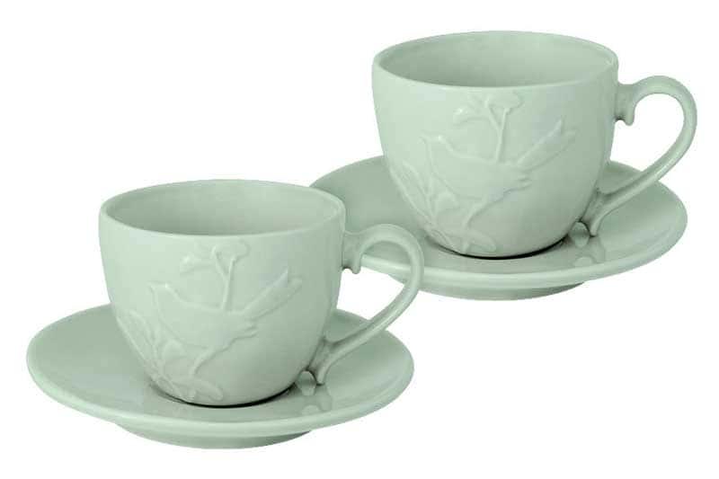 Птицы зеленая Набор из 2 чашек и 2 блюдец SantaFe 0,25 л.
