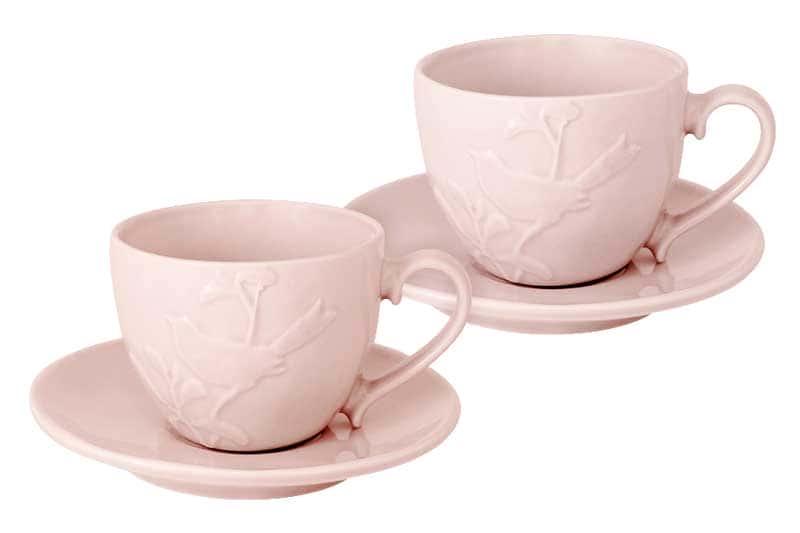 Птицы розовая Чайные пары: 2 чашки 2 блюдца SantaFe 0,25 л.