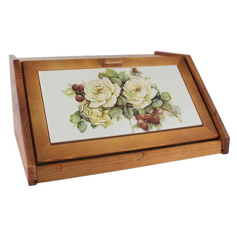 Роза и малина Хлебница деревянная с керамическими вставками LCS Италия