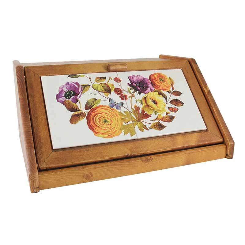 Элеганс Хлебница деревянная с керамическими вставками  LCS  Италия в подарочной упаковке