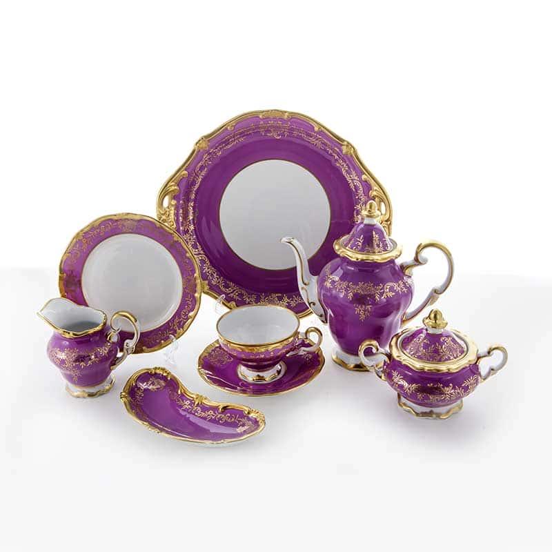 Ювел фиолетовый Сервиз чайный Weimar 210 мл. на 6 перс. 23 пред.