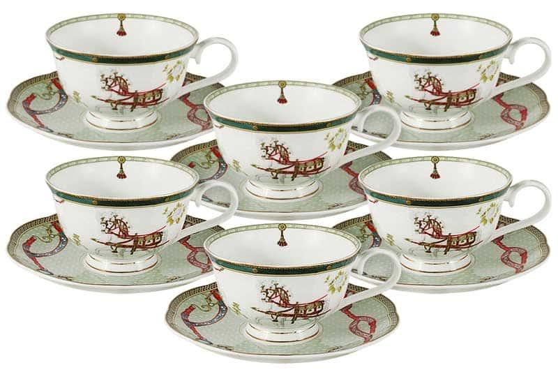 Эдинбург Набор из 12 предметов: 6 чашек + 6 блюдец Эмили (Emily) Китай в подарочной упаковке