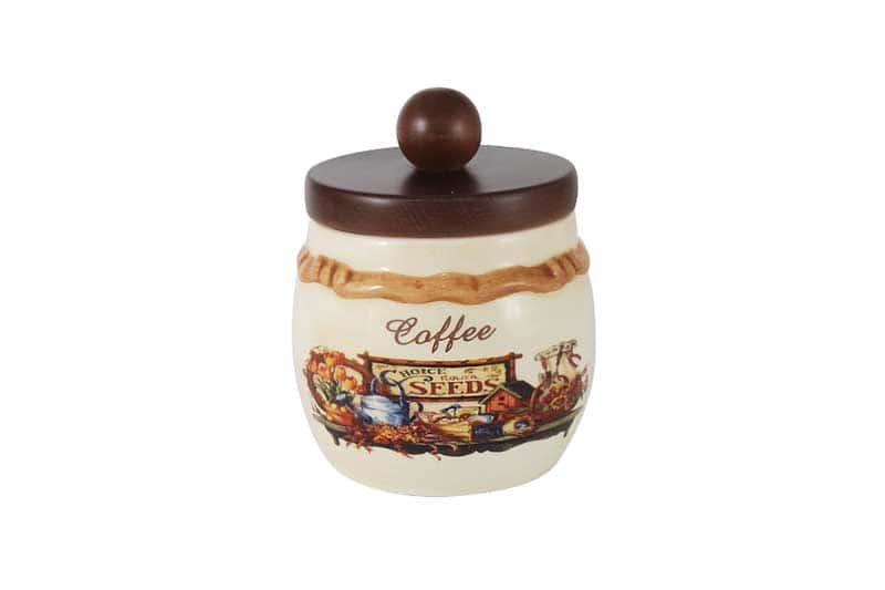 Садовые цветы Банка для сыпучих продуктов с деревянной крышкой (кофе) LCS Италия