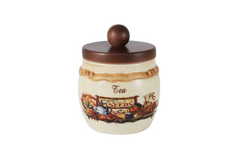 Садовые цветы Банка для сыпучих продуктов с деревянной крышкой (чай) LCS Италия