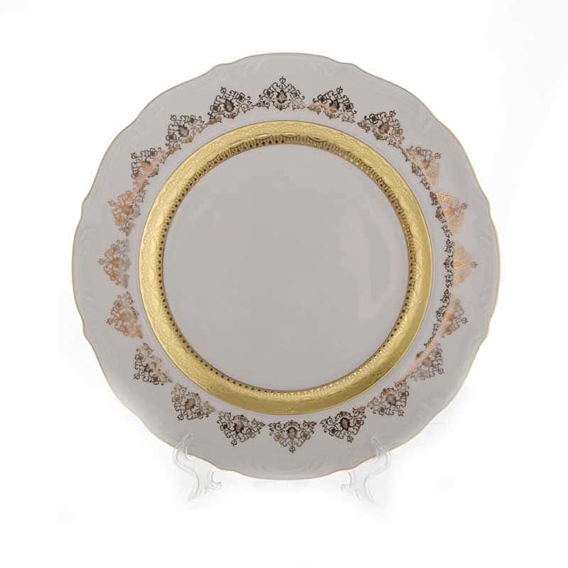 Лист белый Золото Блюдо круглое Bavarian 32 см.