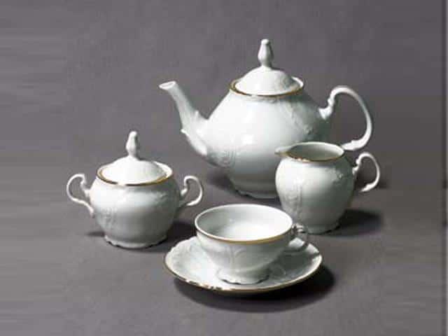 Бернадотт Белый узор Чайный сервиз на 6 персон 17 предметов