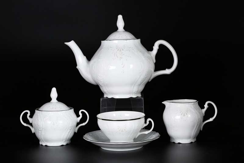 Бернадотт Платиновый узор Чайный сервиз на 6 персон 17 предметов
