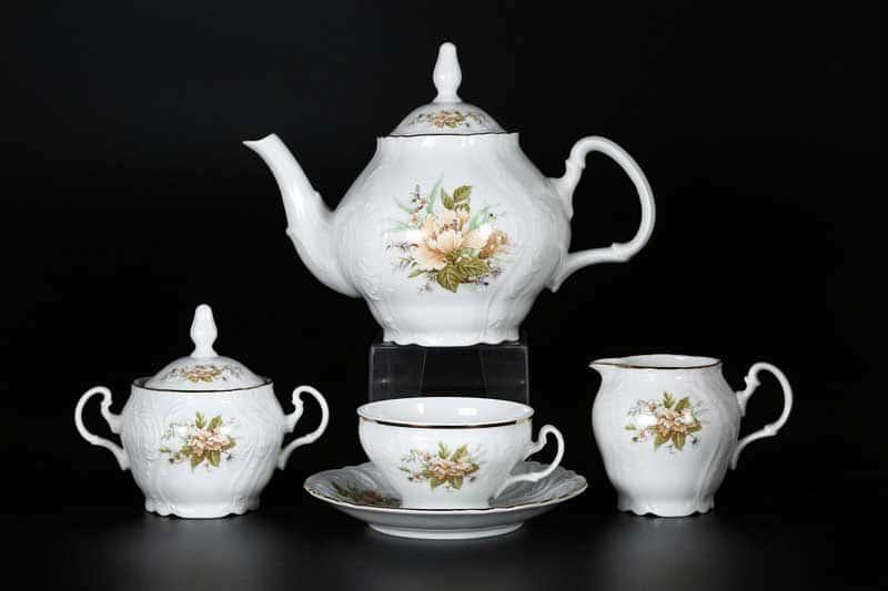Бернадотт Зеленый цветок Чайный сервиз на 6 персон 17 предметов