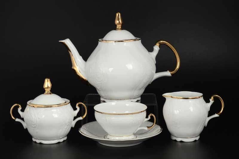 Бернадотт Золотое солнце Чайный сервиз на 6 персон 17 предметов