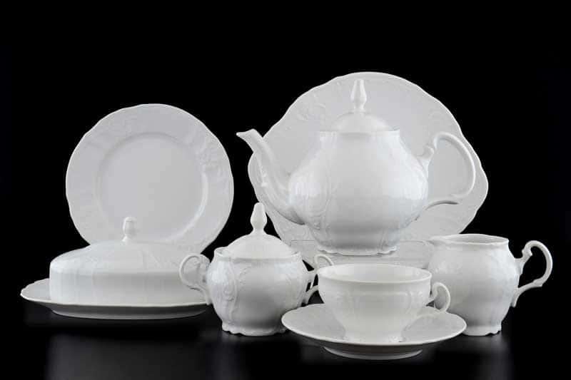 Бернадотт Недекорированный Чайный сервиз на 12 персон 43 предмета