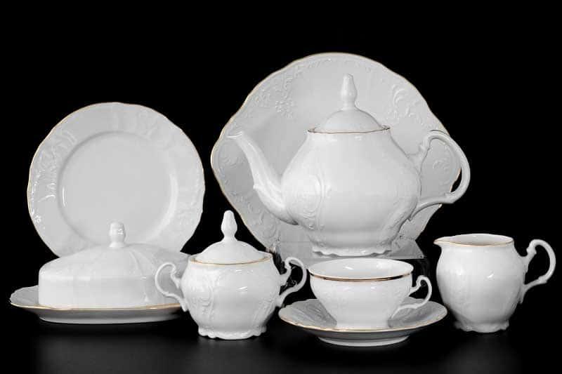 Бернадотт Белый узор Чайный сервиз на 12 персон 43 предмета