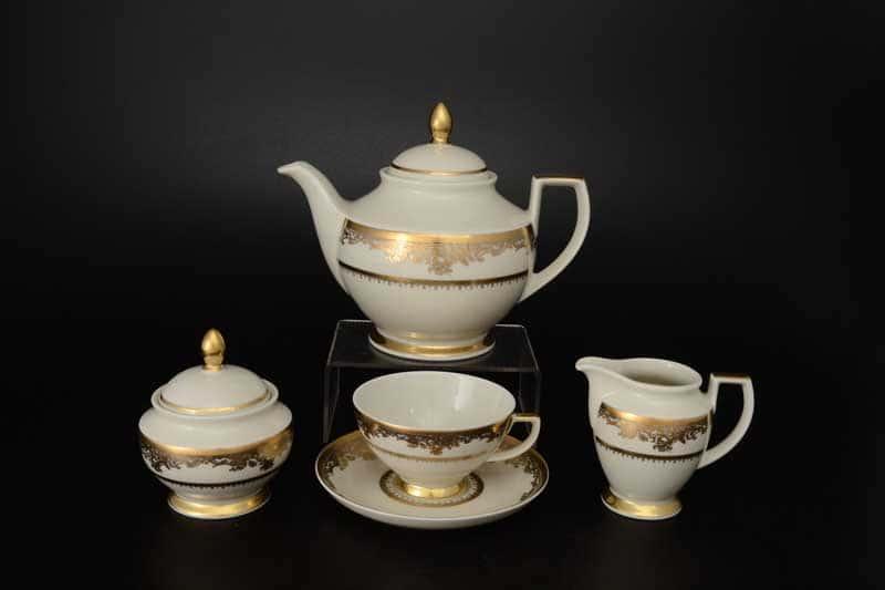 Cream Gold 9077 Чайный сервиз FalkenPorzellan на 6 персон 17 предметов