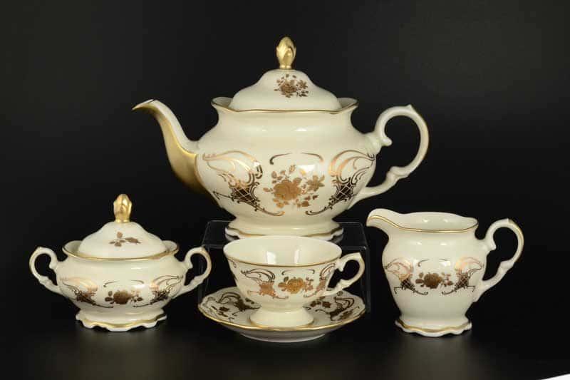 Чайный сервиз Royal Porcelain на 6 персон 17 предметов слоновая кость