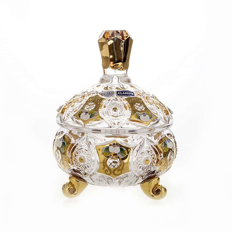 Хрусталь с Золотом Доза мармеладница Glasspo 12,6 см.
