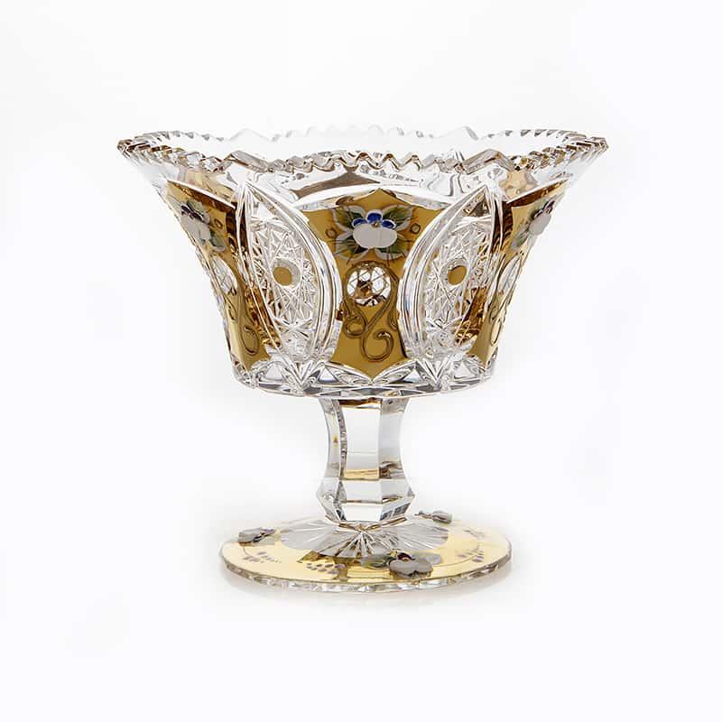 Хрусталь с Золотом Ваза для конфет Glasspo 15,5 см.