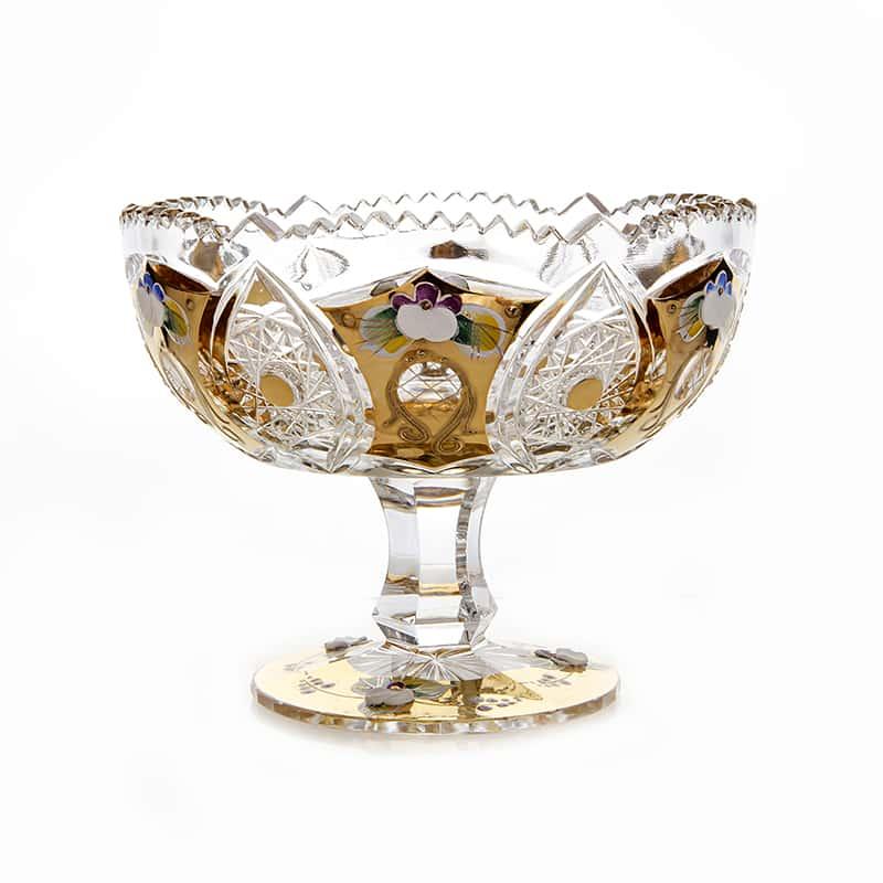 Хрусталь с Золотом Ваза для конфет Glasspo 15,5 см. на ножке